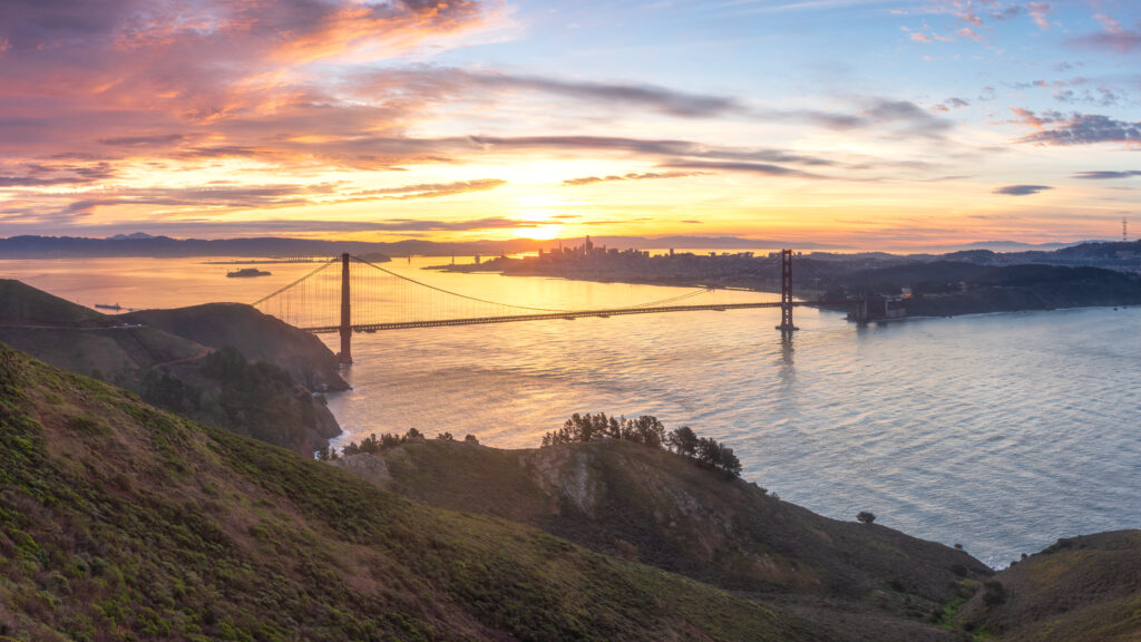 The San Francisco Bay Area And The Golden Gate Bridge Panorama